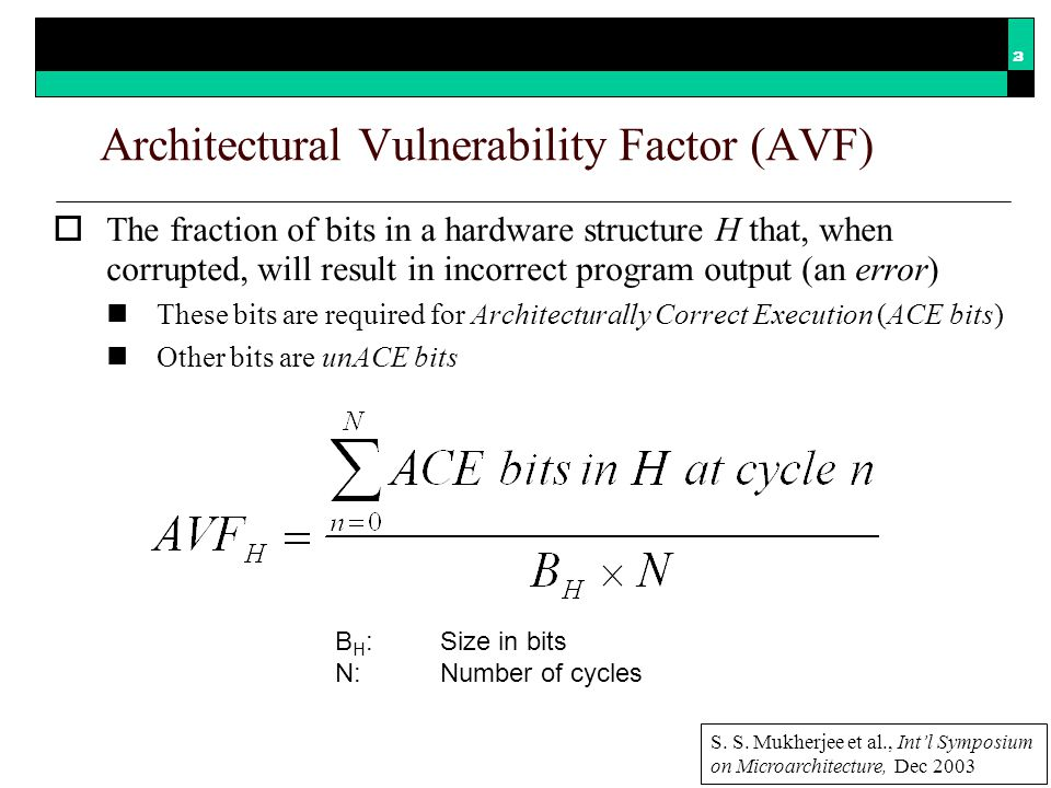 Motivating Example Constant workload / Variable microarchitecture Variable workload / Constant microarchitecture AVF depends on hardwareand on software This talk focuses on quantifying hardware vulnerability V.