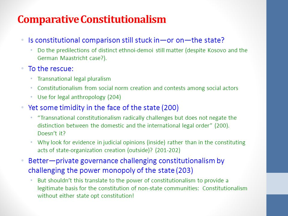 Comparative Constitutionalism Is constitutional comparison still stuck in—or on—the state.