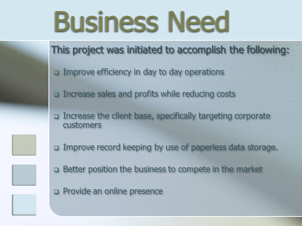 Business Need This project was initiated to accomplish the following: This project was initiated to accomplish the following:  Improve efficiency in