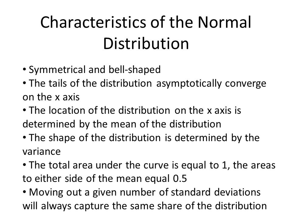 Characteristics of the Normal Distribution Symmetrical and bell-shaped The tails of the distribution asymptotically converge on the x axis The locatio
