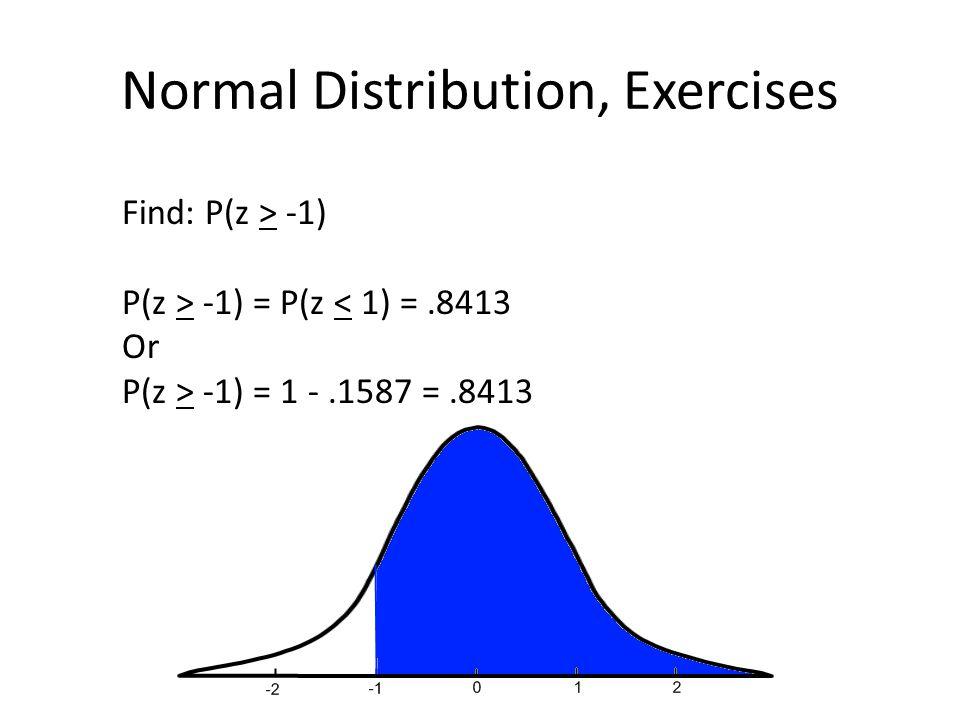 Normal Distribution, Exercises Find: P(z > -1) P(z > -1) = P(z < 1) =.8413 Or P(z > -1) = 1 -.1587 =.8413