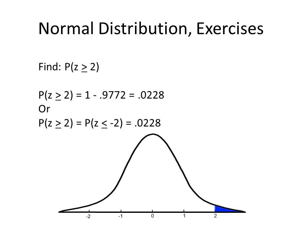 Normal Distribution, Exercises Find: P(z > 2) P(z > 2) = 1 -.9772 =.0228 Or P(z > 2) = P(z < -2) =.0228