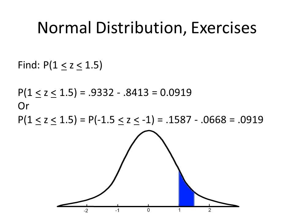 Normal Distribution, Exercises Find: P(1 < z < 1.5) P(1 < z < 1.5) =.9332 -.8413 = 0.0919 Or P(1 < z < 1.5) = P(-1.5 < z < -1) =.1587 -.0668 =.0919