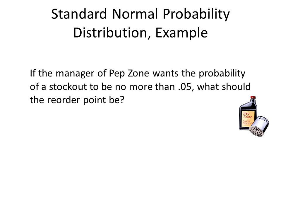 If the manager of Pep Zone wants the probability of a stockout to be no more than.05, what should the reorder point be? Pep Zone 5w-20 Motor Oil Stand