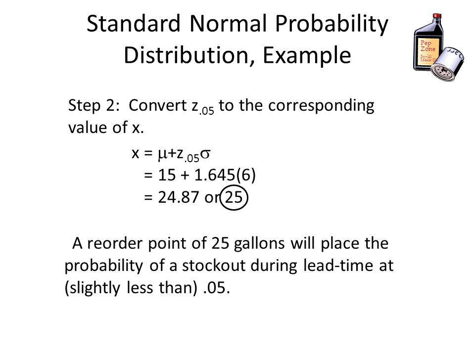 Pep Zone 5w-20 Motor Oil A reorder point of 25 gallons will place the probability of a stockout during lead-time at (slightly less than).05. Standard
