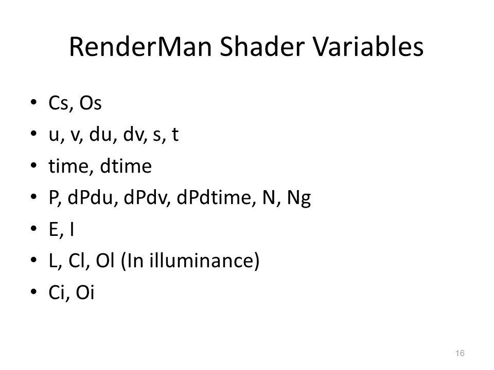 16 RenderMan Shader Variables Cs, Os u, v, du, dv, s, t time, dtime P, dPdu, dPdv, dPdtime, N, Ng E, I L, Cl, Ol (In illuminance) Ci, Oi