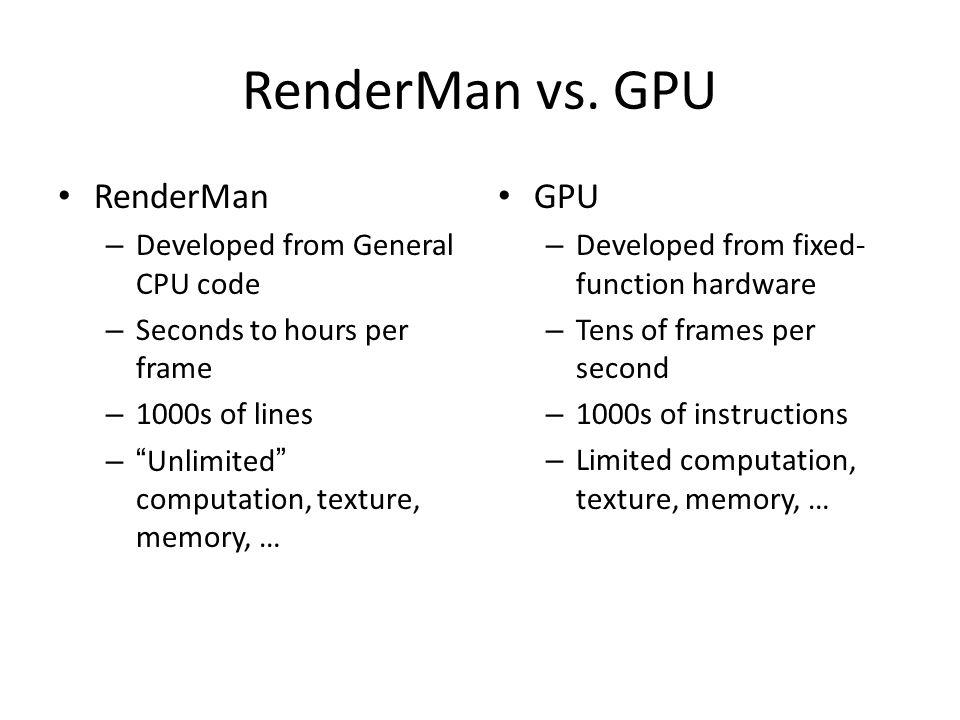 RenderMan vs.