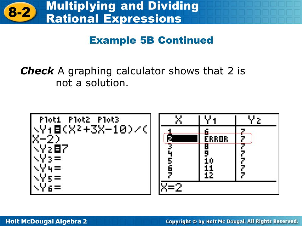 Holt McDougal Algebra 2 8-2 Multiplying and Dividing Rational Expressions Check A graphing calculator shows that 2 is not a solution.