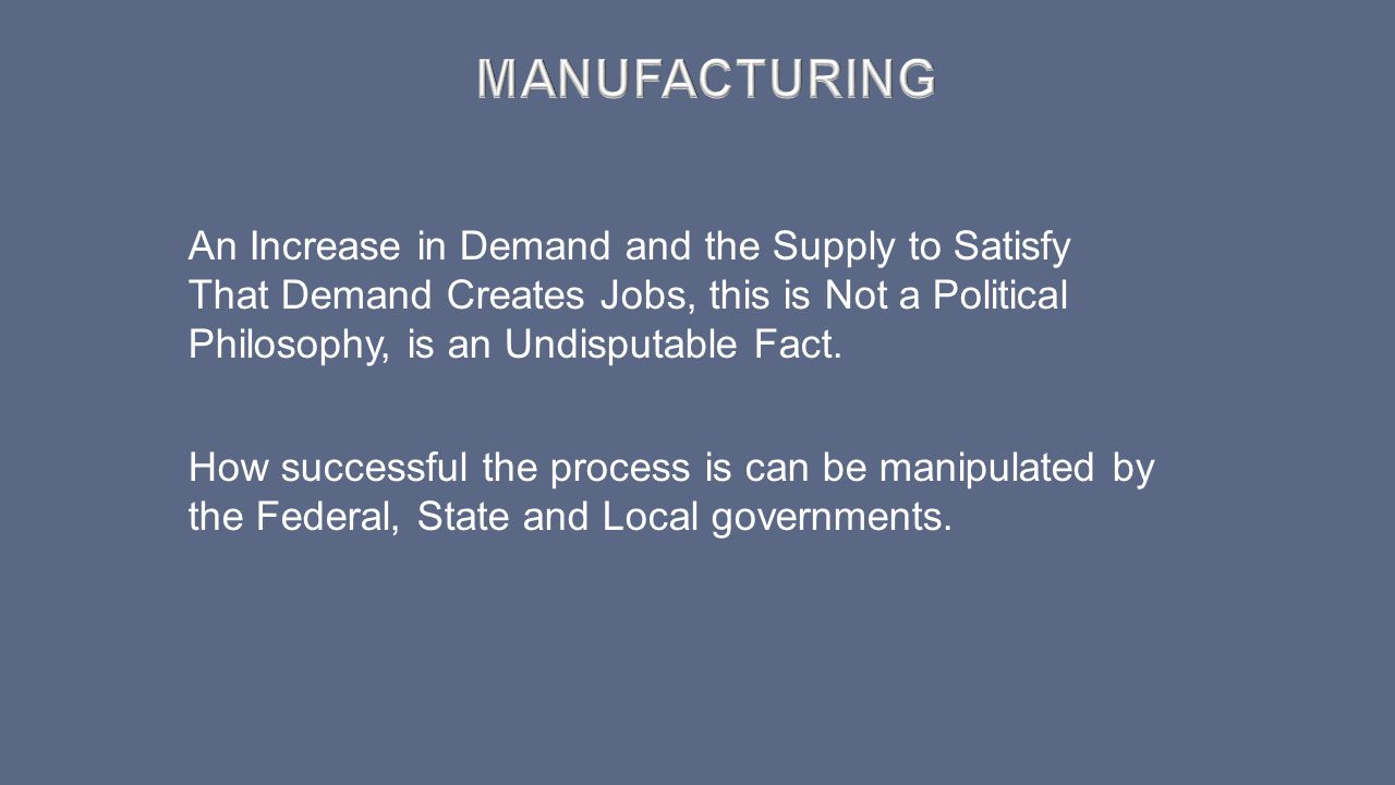 An Increase in Demand and the Supply to Satisfy That Demand Creates Jobs, this is Not a Political Philosophy, is an Undisputable Fact. How successful