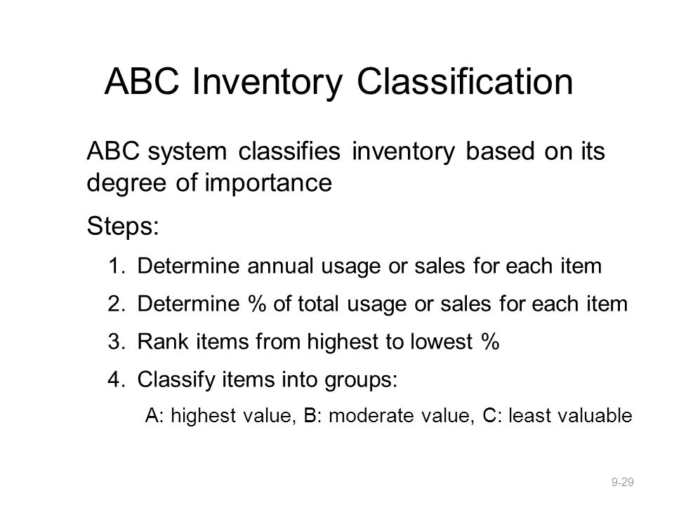 ABC Inventory Classification ABC system classifies inventory based on its degree of importance Steps: 1.Determine annual usage or sales for each item 2.Determine % of total usage or sales for each item 3.Rank items from highest to lowest % 4.Classify items into groups: A: highest value, B: moderate value, C: least valuable 9-29