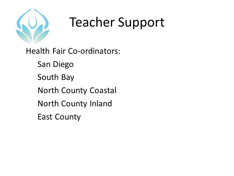 Teacher Support Health Fair Co-ordinators: San Diego South Bay North County Coastal North County Inland East County