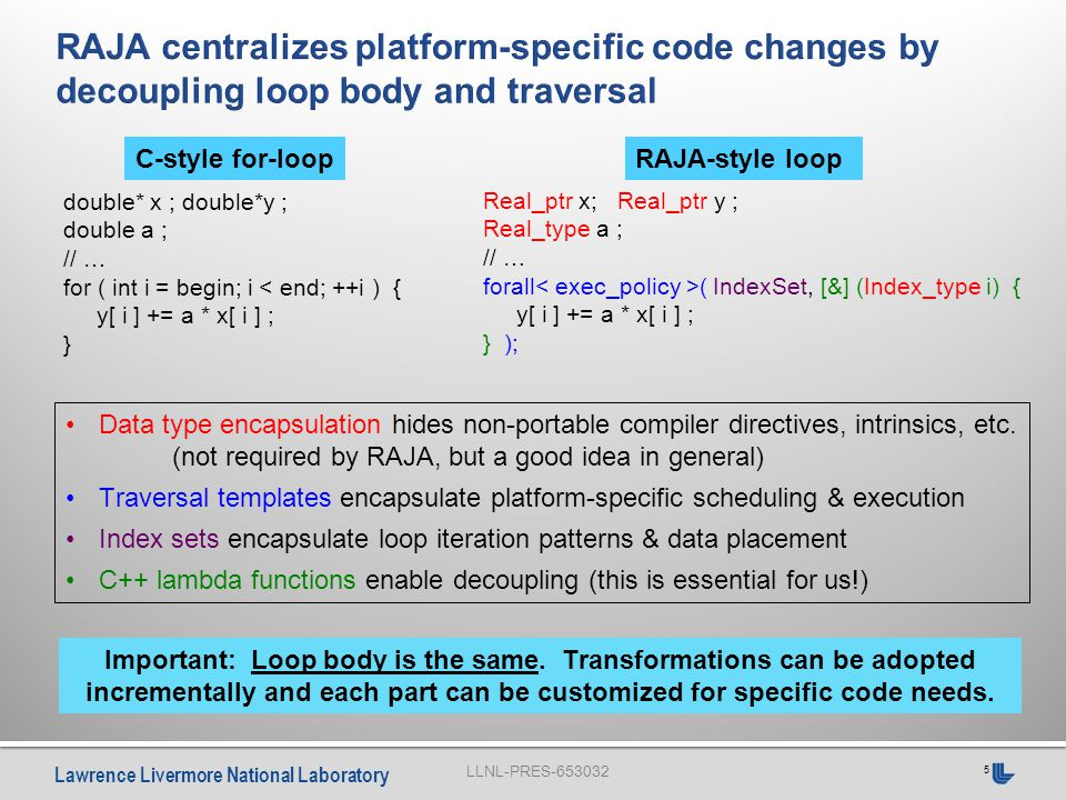 LLNL-PRES-653032 Lawrence Livermore National Laboratory 16  Basic integration is straightforward  Hard work is localized Setting up & manipulating index sets Defining platform-specific execution policies for loop classes  Converting loops is easy, but tedious Replace loop header with call to iteration template Identify loop type (i.e., execution pattern) Determine whether loop can and should be parallelized — Are other changes needed; e.g., variable scope, thread safety.