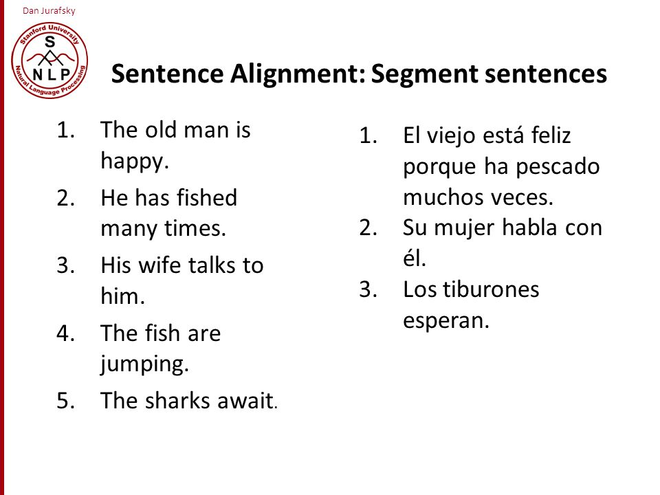 Dan Jurafsky Sentence Alignment: Segment sentences 1.The old man is happy.