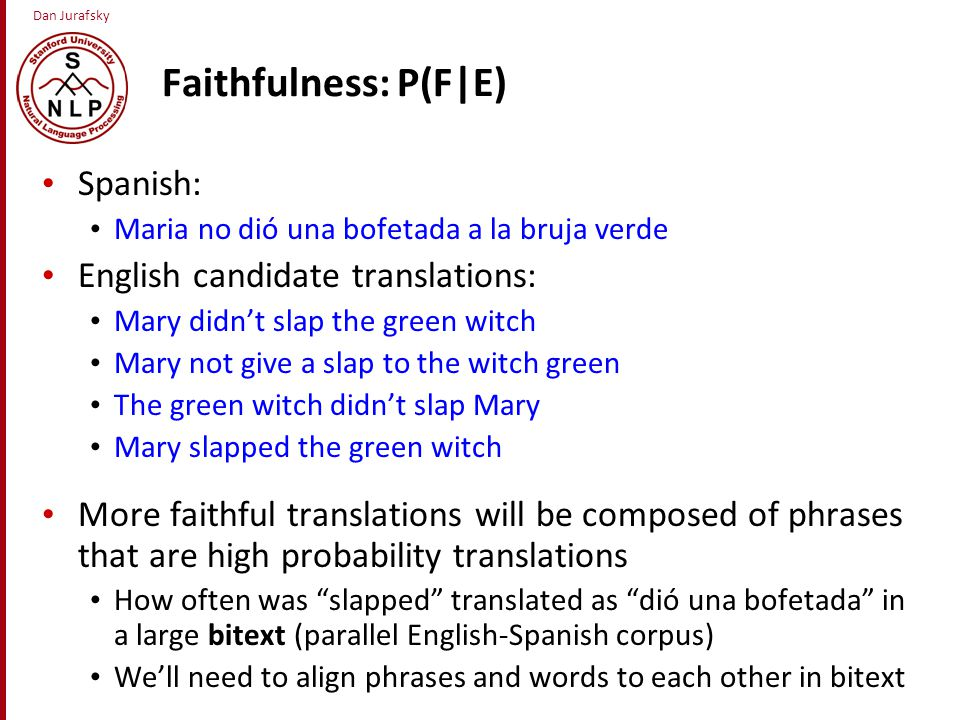 Dan Jurafsky Faithfulness: P(F|E) Spanish: Maria no dió una bofetada a la bruja verde English candidate translations: Mary didn't slap the green witch Mary not give a slap to the witch green The green witch didn't slap Mary Mary slapped the green witch More faithful translations will be composed of phrases that are high probability translations How often was slapped translated as dió una bofetada in a large bitext (parallel English-Spanish corpus) We'll need to align phrases and words to each other in bitext