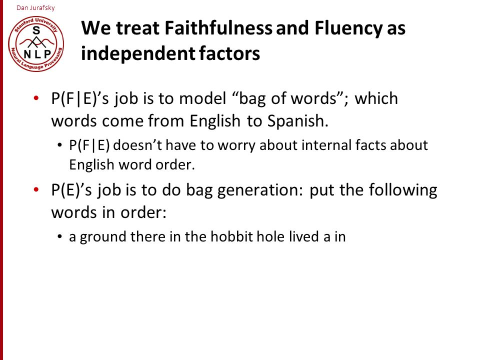 Dan Jurafsky We treat Faithfulness and Fluency as independent factors P(F|E)'s job is to model bag of words ; which words come from English to Spanish.