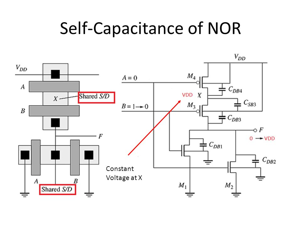 Self-Capacitance of NOR Constant Voltage at X