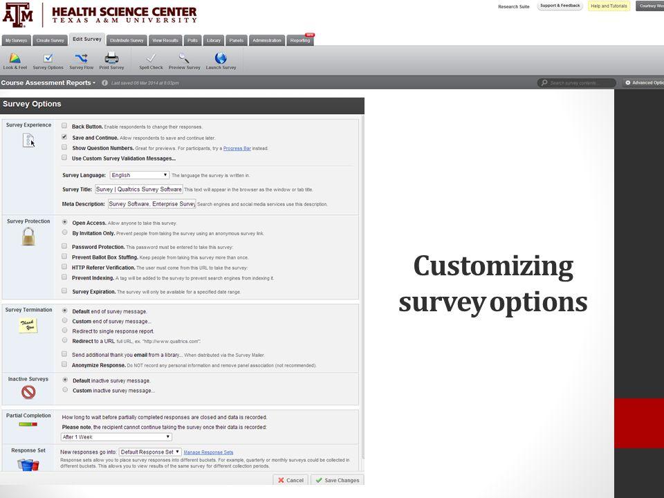 Customizing survey options