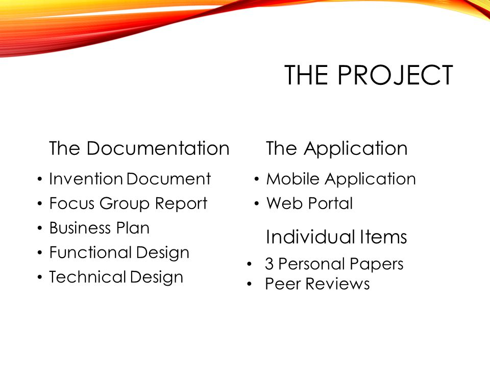 THE PROJECT The Documentation Invention Document Focus Group Report Business Plan Functional Design Technical Design The Application Mobile Applicatio