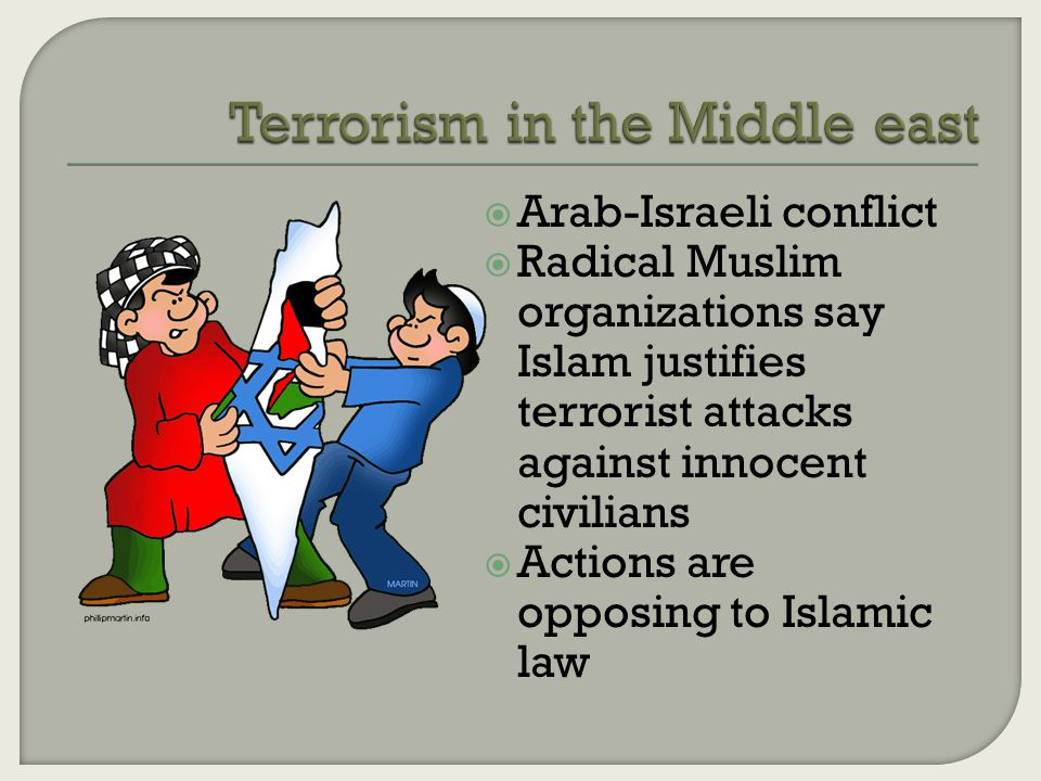  Arab-Israeli conflict  Radical Muslim organizations say Islam justifies terrorist attacks against innocent civilians  Actions are opposing to Islamic law