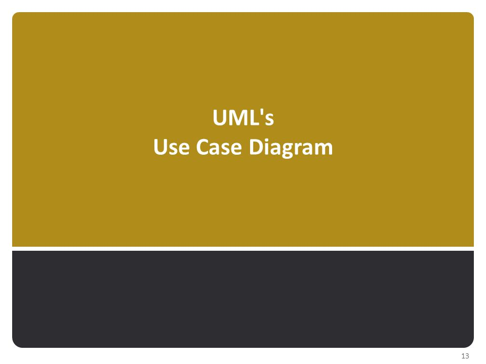 UML s Use Case Diagram 13