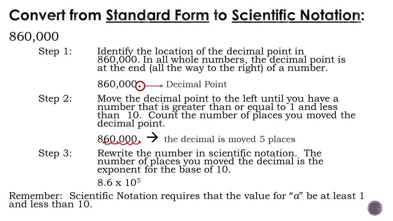 860,000 Step 1: Identify the location of the decimal point in 860,000. In all whole numbers, the decimal point is at the end (all the way to the right