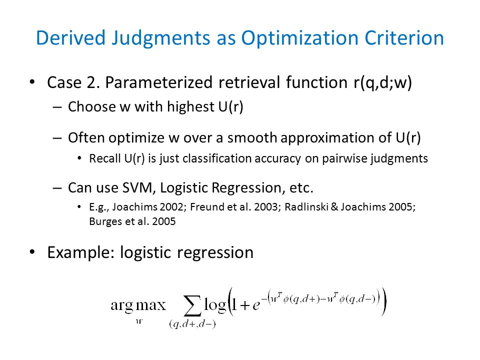 Derived Judgments as Optimization Criterion Case 2.