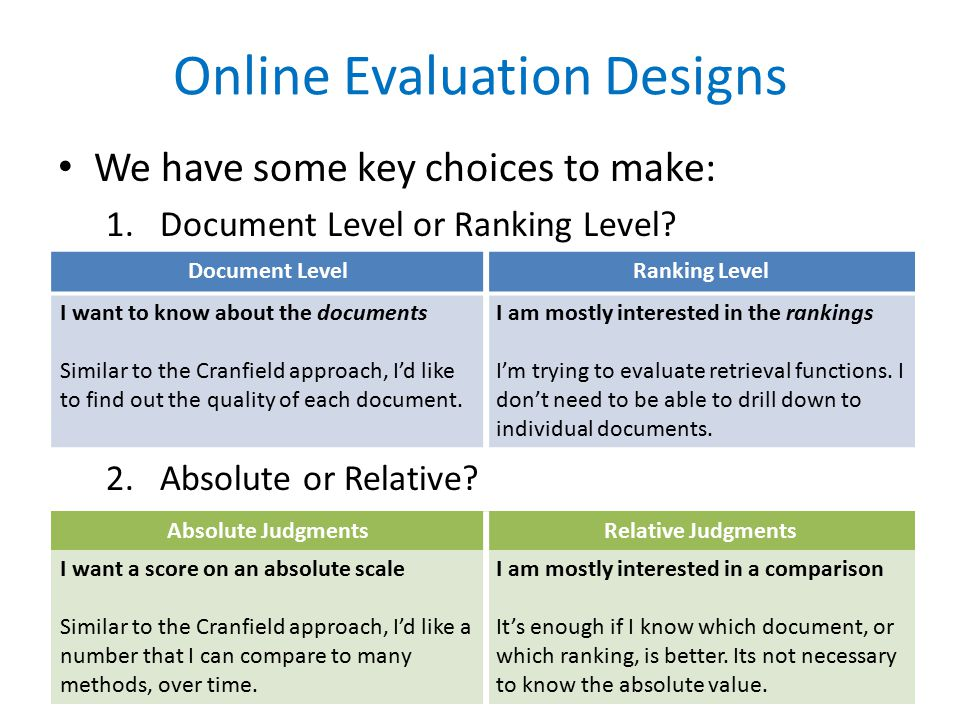 Online Evaluation Designs We have some key choices to make: 1.Document Level or Ranking Level.