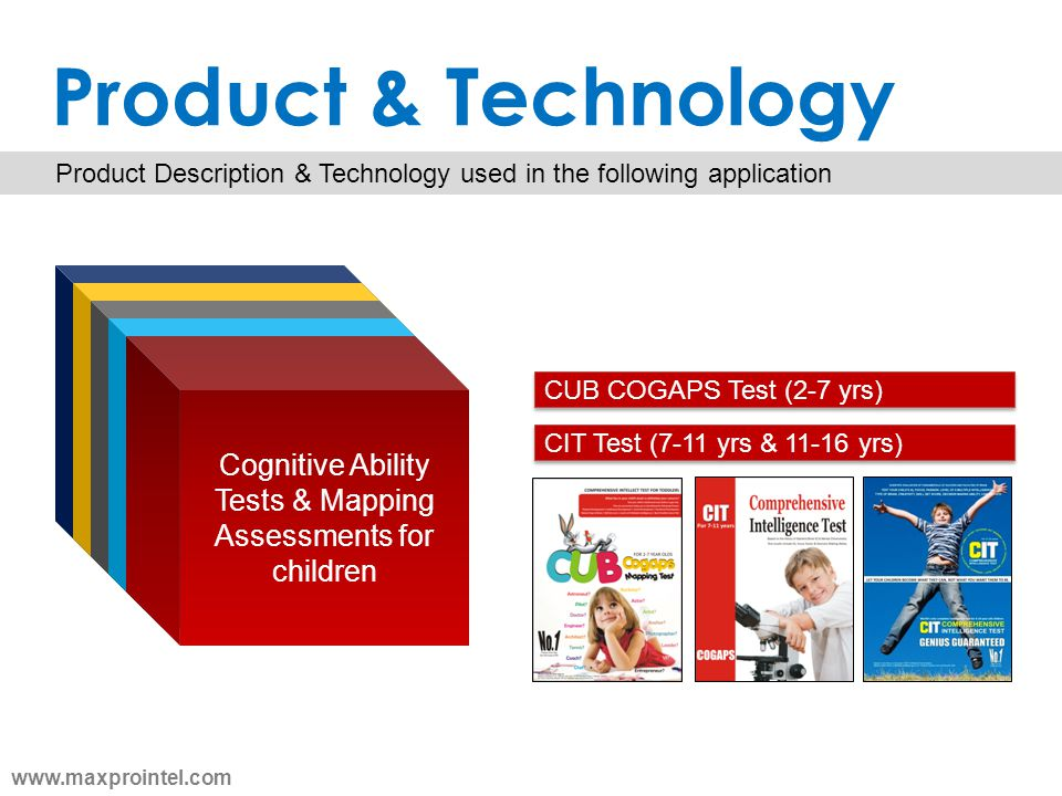 Product & Technology Product Description & Technology used in the following application Cognitive Ability Tests & Mapping Assessments for children CUB