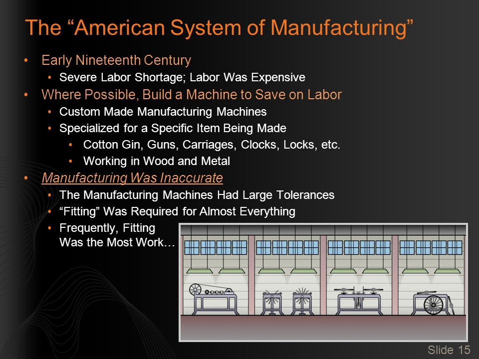 Slide 15 The American System of Manufacturing Early Nineteenth Century Severe Labor Shortage; Labor Was Expensive Where Possible, Build a Machine to Save on Labor Custom Made Manufacturing Machines Specialized for a Specific Item Being Made Cotton Gin, Guns, Carriages, Clocks, Locks, etc.