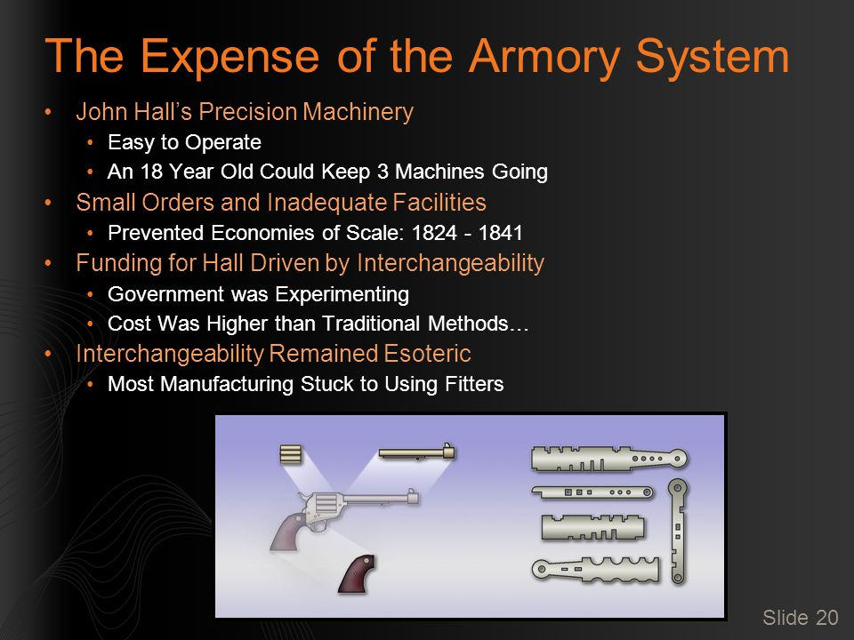 Slide 20 The Expense of the Armory System John Hall's Precision Machinery Easy to Operate An 18 Year Old Could Keep 3 Machines Going Small Orders and Inadequate Facilities Prevented Economies of Scale: 1824 - 1841 Funding for Hall Driven by Interchangeability Government was Experimenting Cost Was Higher than Traditional Methods… Interchangeability Remained Esoteric Most Manufacturing Stuck to Using Fitters