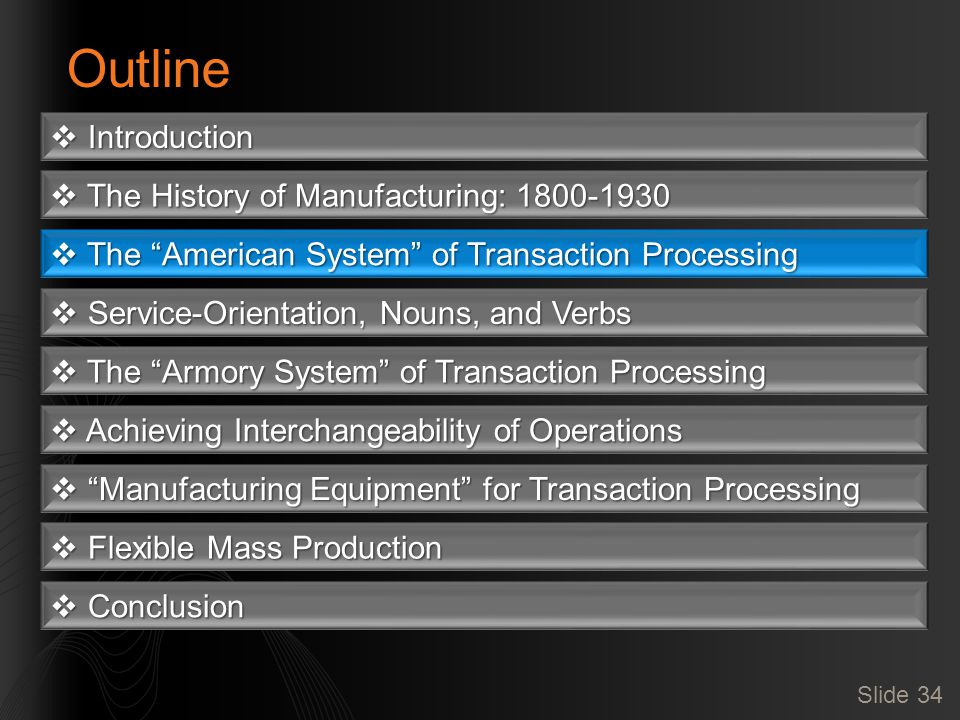 Slide 34 Outline  Introduction  The History of Manufacturing: 1800-1930  The American System of Transaction Processing  Service-Orientation, Nouns, and Verbs  The Armory System of Transaction Processing  Achieving Interchangeability of Operations  Manufacturing Equipment for Transaction Processing  Flexible Mass Production  Conclusion