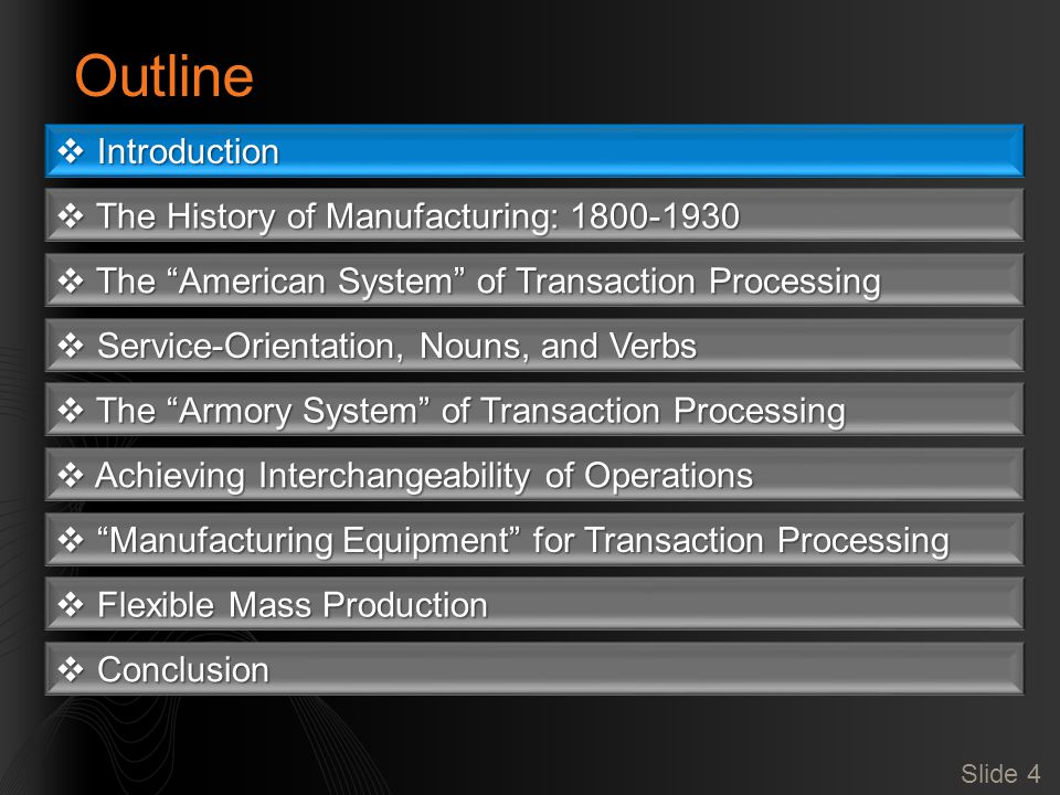 Slide 4 Outline  Introduction  The History of Manufacturing: 1800-1930  The American System of Transaction Processing  Service-Orientation, Nouns, and Verbs  The Armory System of Transaction Processing  Achieving Interchangeability of Operations  Manufacturing Equipment for Transaction Processing  Flexible Mass Production  Conclusion