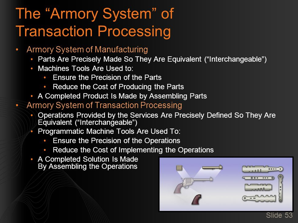 Slide 53 The Armory System of Transaction Processing Armory System of Manufacturing Parts Are Precisely Made So They Are Equivalent ( Interchangeable ) Machines Tools Are Used to: Ensure the Precision of the Parts Reduce the Cost of Producing the Parts A Completed Product Is Made by Assembling Parts Armory System of Transaction Processing Operations Provided by the Services Are Precisely Defined So They Are Equivalent ( Interchangeable ) Programmatic Machine Tools Are Used To: Ensure the Precision of the Operations Reduce the Cost of Implementing the Operations A Completed Solution Is Made By Assembling the Operations