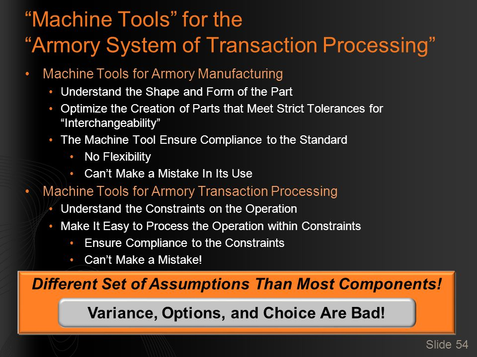 Slide 54 Machine Tools for the Armory System of Transaction Processing Machine Tools for Armory Manufacturing Understand the Shape and Form of the Part Optimize the Creation of Parts that Meet Strict Tolerances for Interchangeability The Machine Tool Ensure Compliance to the Standard No Flexibility Can't Make a Mistake In Its Use Machine Tools for Armory Transaction Processing Understand the Constraints on the Operation Make It Easy to Process the Operation within Constraints Ensure Compliance to the Constraints Can't Make a Mistake.