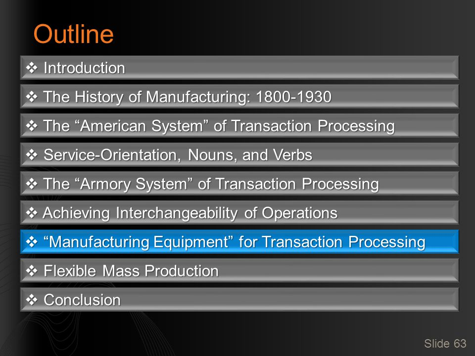Slide 63 Outline  Introduction  The History of Manufacturing: 1800-1930  The American System of Transaction Processing  Service-Orientation, Nouns, and Verbs  The Armory System of Transaction Processing  Achieving Interchangeability of Operations  Manufacturing Equipment for Transaction Processing  Flexible Mass Production  Conclusion