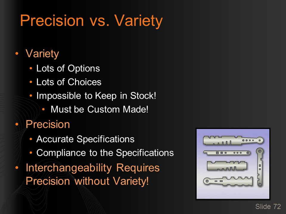 Slide 72 Precision vs. Variety Variety Lots of Options Lots of Choices Impossible to Keep in Stock.