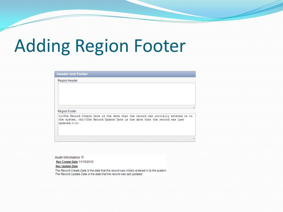 Adding Region Footer