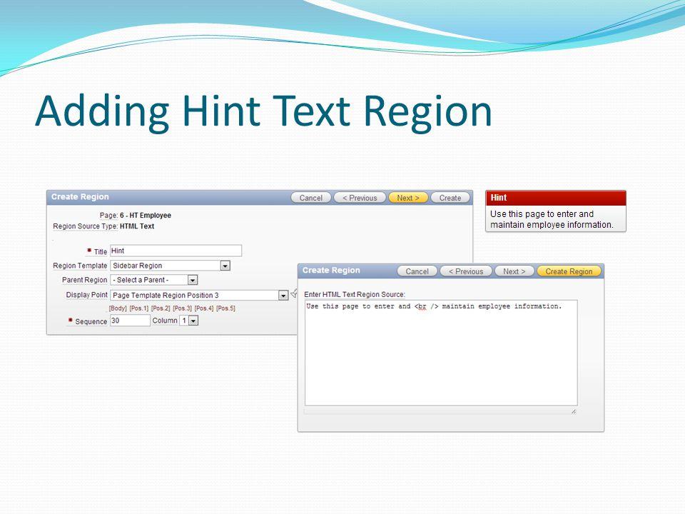 Adding Hint Text Region