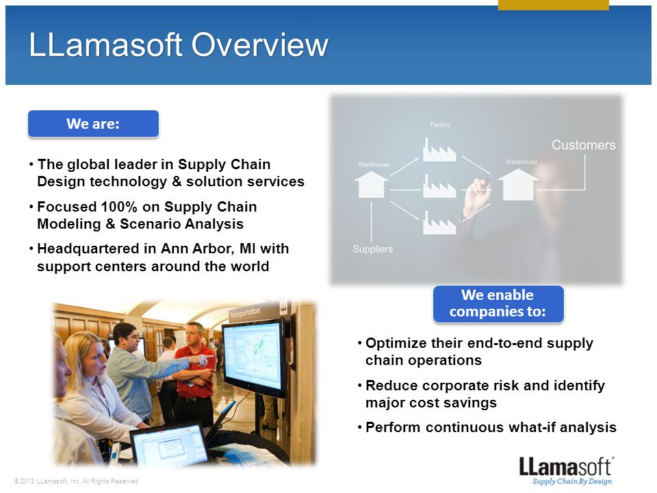 © 2013 LLamasoft, Inc. All Rights Reserved Customers Throughout the Country
