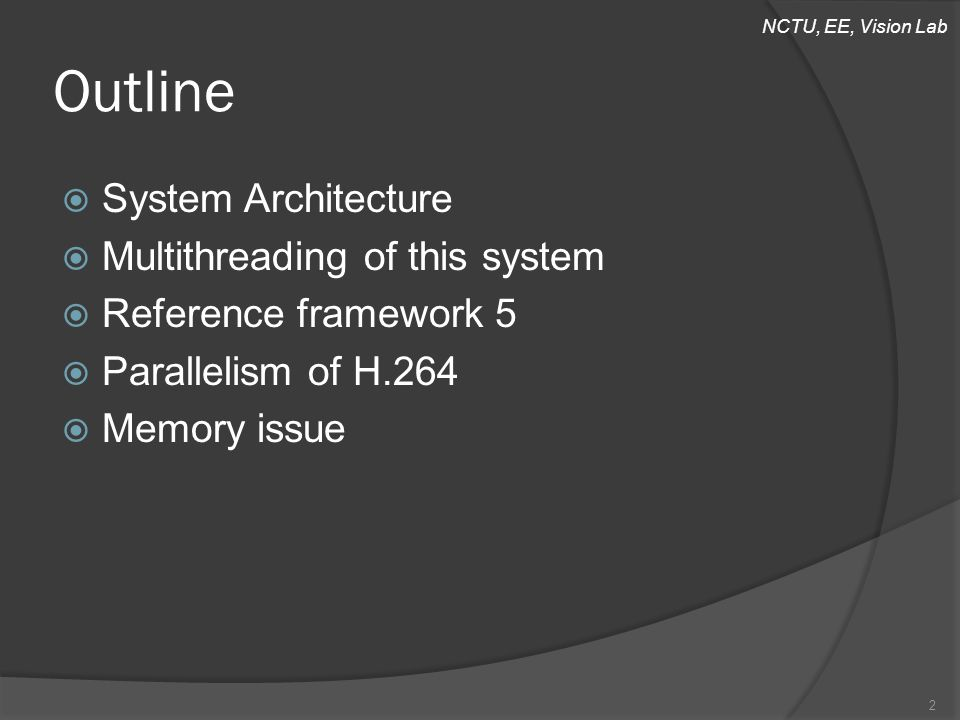 NCTU, EE, Vision Lab Outline  System Architecture  Multithreading of this system  Reference framework 5  Parallelism of H.264  Memory issue 2