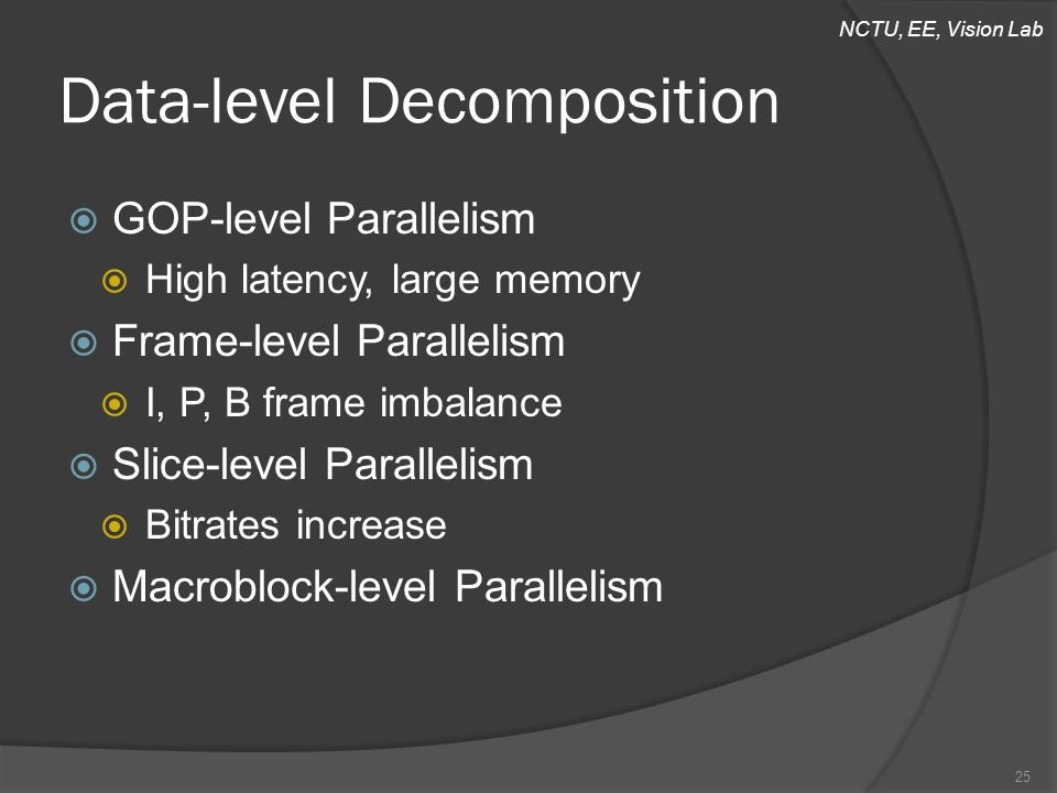 NCTU, EE, Vision Lab Data-level Decomposition  GOP-level Parallelism  High latency, large memory  Frame-level Parallelism  I, P, B frame imbalance  Slice-level Parallelism  Bitrates increase  Macroblock-level Parallelism 25