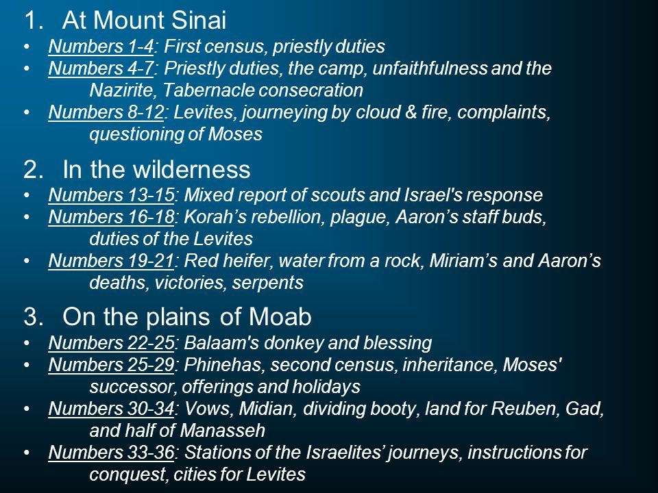 1. At Mount Sinai Numbers 1-4: First census, priestly duties Numbers 4-7: Priestly duties, the camp, unfaithfulness and the Nazirite, Tabernacle conse