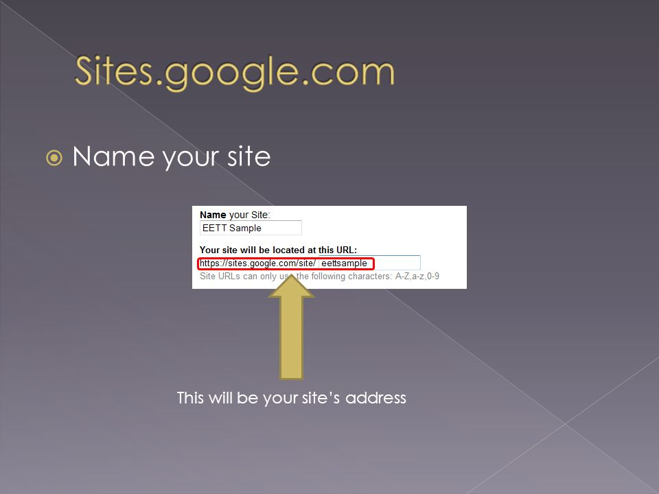  Name your site This will be your site's address