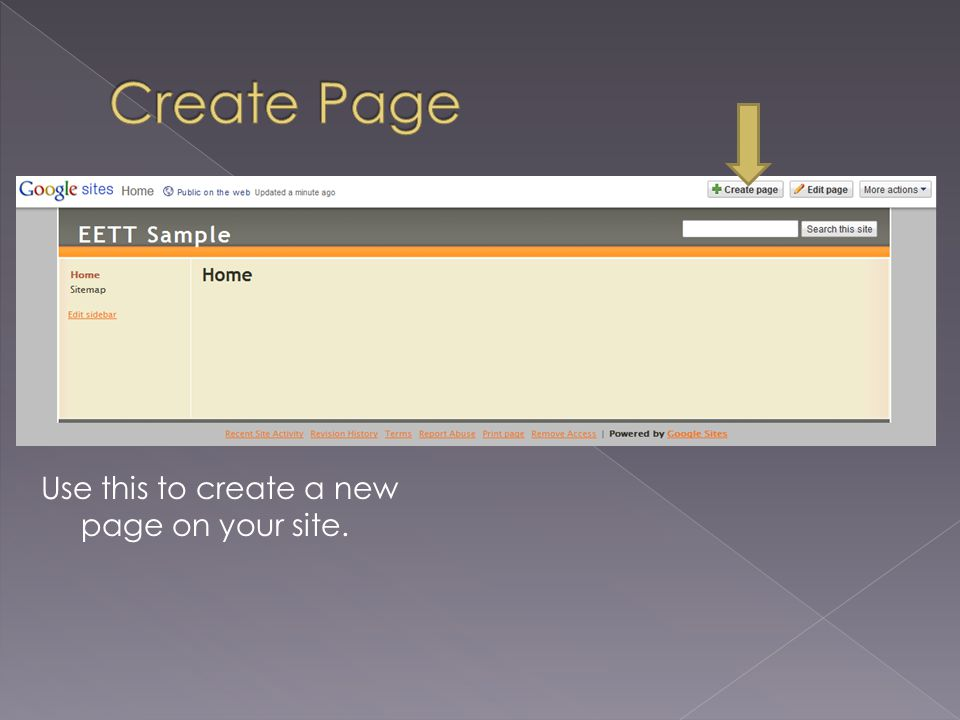 Use this to create a new page on your site.