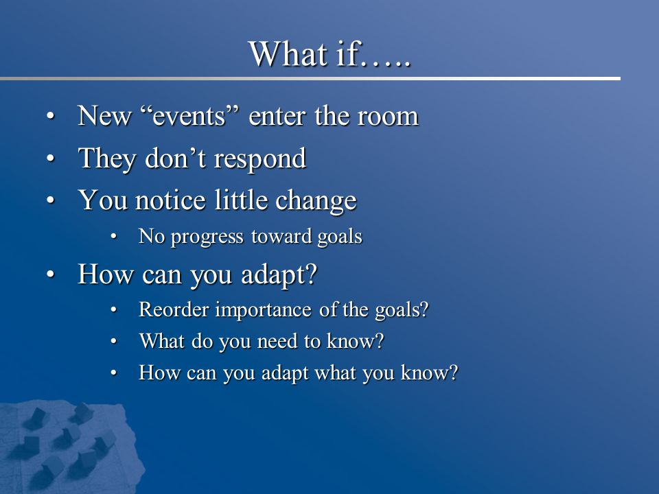"""What if….. New """"events"""" enter the room New """"events"""" enter the room They don't respond They don't respond You notice little change You notice little ch"""