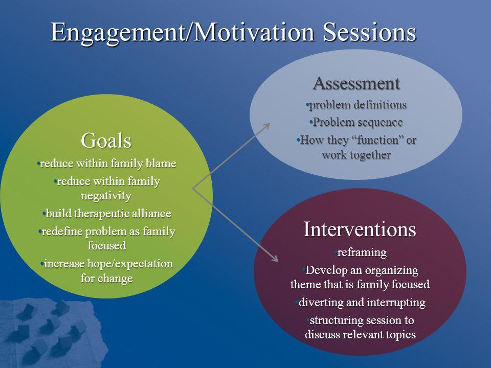 Engagement/Motivation Sessions Goals reduce within family blame reduce within family blame reduce within family negativity reduce within family negati