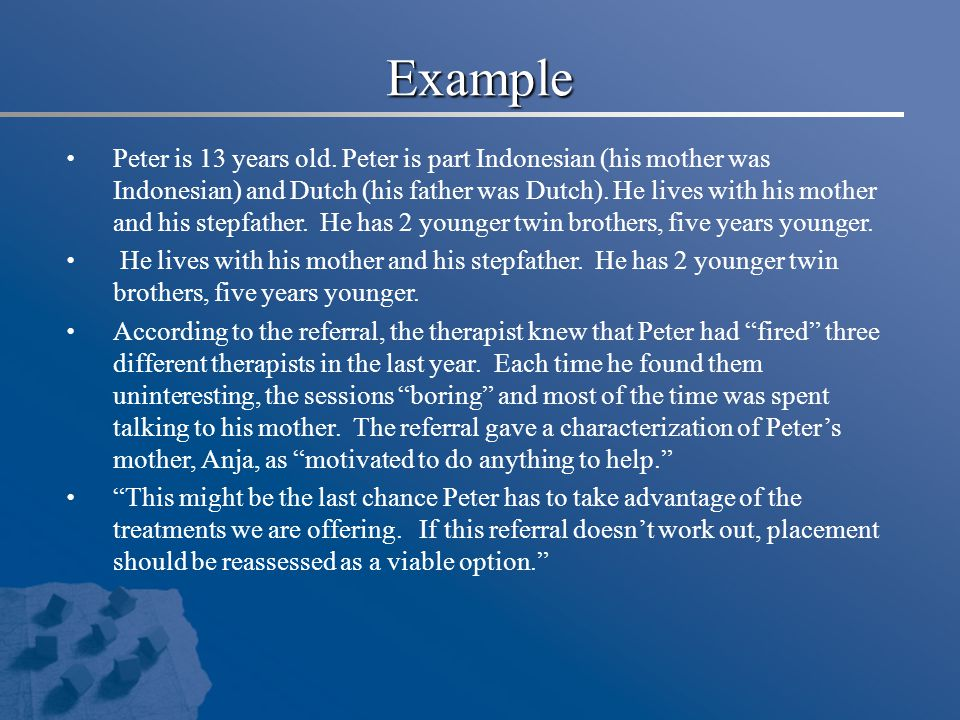 Example Peter is 13 years old. Peter is part Indonesian (his mother was Indonesian) and Dutch (his father was Dutch). He lives with his mother and his