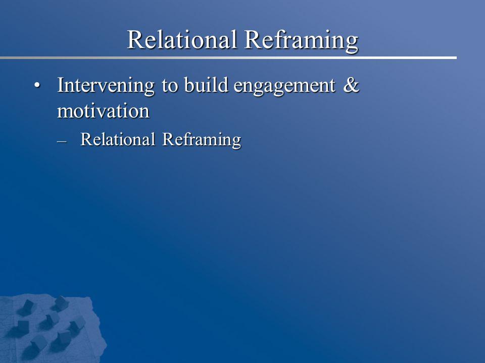 Relational Reframing Intervening to build engagement & motivation Intervening to build engagement & motivation – Relational Reframing