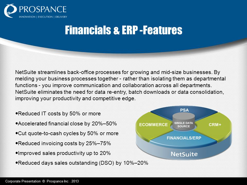 Corporate Presentation © Prospance Inc. 2013 Financials & ERP -Features NetSuite streamlines back-office processes for growing and mid-size businesses
