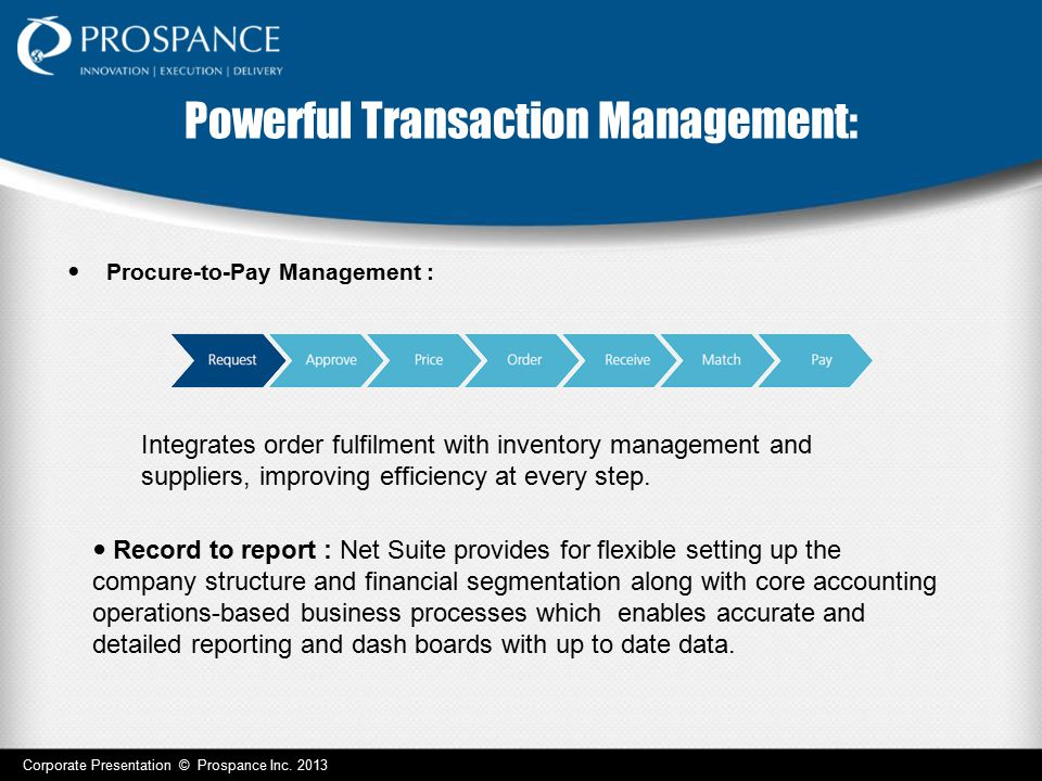 Powerful Transaction Management: Procure-to-Pay Management : Integrates order fulfilment with inventory management and suppliers, improving efficiency